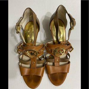 Michael Kors Gold Plated Big Logo Heels size 8